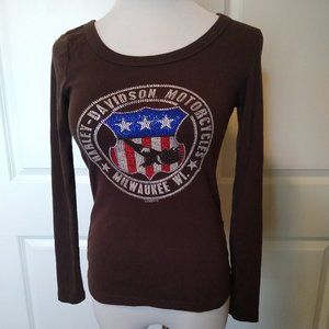 Harley Davidson brown long sleeve embellished top